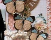 Butterfly Set Sweetest Of Days Glitter Glass Butterflies  Scrapbook Embellishment Tag Card Mini Album Wedding