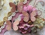Reneabouquets Butterfly Set ~  Baby Renea Soft Pink Glitter Glass Butterflies Scrapbook Embellishment, Wedding, Home Decor, Decoration