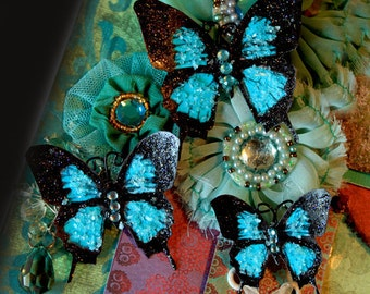 Reneabouquets Butterfly Set - Dark Teal Glitter Glass Butterflies Scrapbook Embellishment Tag, Card, Mini Album, Wedding