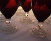 1920's - Vintage- Antique- Collectible 8 Set Blood Red Wine Glasses