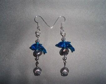 Dolphin Earrings! Blue Glass Dolphins, Black Pearls, Sea Shells, Silver, Dangle Earrings! Ocean Theme Earrings, Birthday Gift, Holiday Gift
