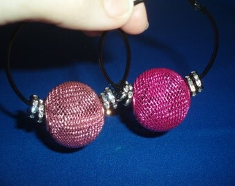 Hoop Earrings! Mismatched, Mesh Bead, Crystal, Hoop Earrings! 3 Styles! Hip Hop Earrings, Birthday Gift, Anniversary Gift, Holiday Gift