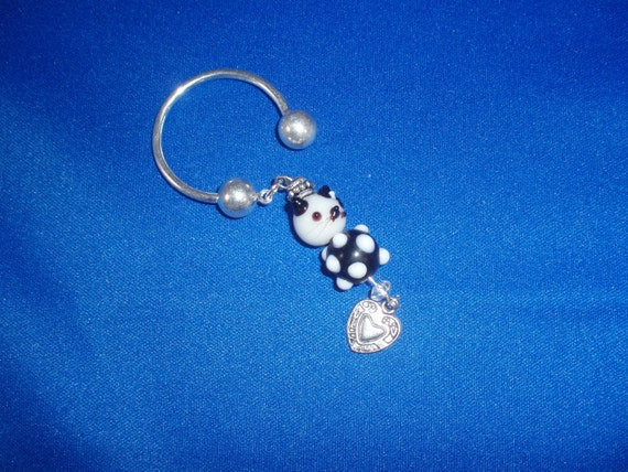 Cat Keychain! Cat, Lampwork, Beaded, Silver Heart Charm, Metal Keychain! OOAK! Teen Gift, Birthday Gift, Anniversary Gift, Holiday Gift