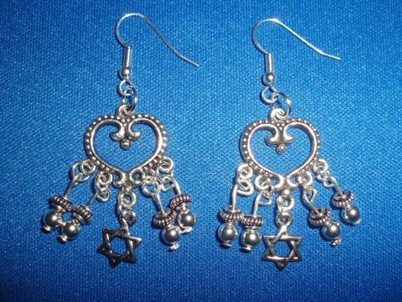 Judaic Earrings! Silver Open Heart, Star of David Charm, Beaded, Chandelier Earrings! OOAK! Judaic Gift, Bat Mitzvah Gift, Hanukkah Gift