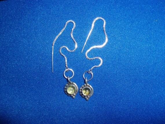 Peridot Thread Earrings in Sterling Silver