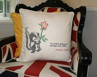 Anthony Weiner Quote Embroidered Pillow - One of a Kind