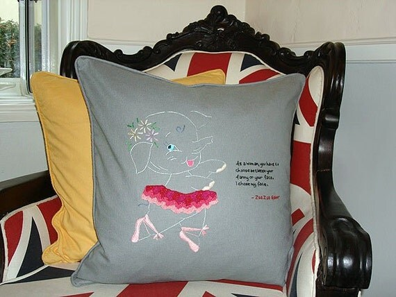 Zsa Zsa Gabor Quote Embroidered Pillow - One of a Kind