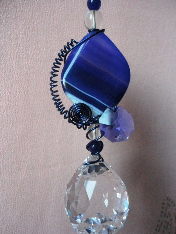 Crystal suncatcher with healing Agate, feng shui cures, rainbow maker, garden art, window prism, free shipping C21
