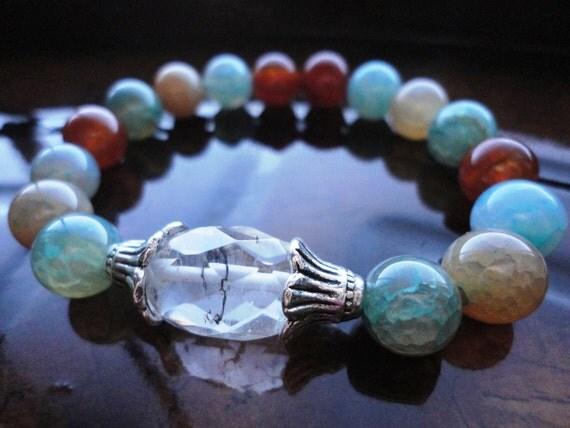 Spiritual Growth Rutilated Quartz and Multi color Agate Yoga bracelet, Reiki Charged, free shipping