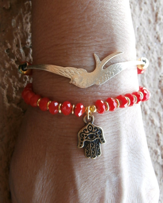 Protection, Hamsa hand and raw Swallow wrap bracelet with Hot red faceted crystal beads, Yoga bracelet, Reiki, free shipping
