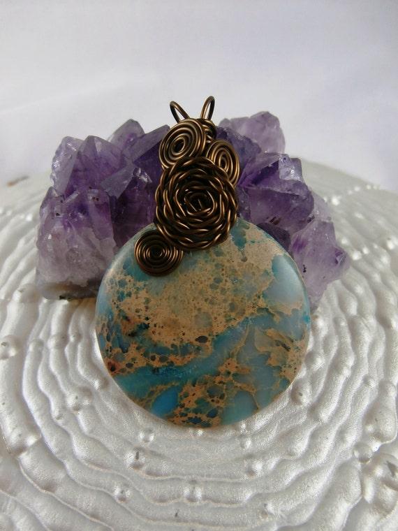 Meditation Aqua Terra Jasper AKA Variscite stone wire wrapped Necklace pendant, Reiki charged, free shipping
