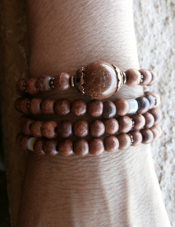 Uplifting 108 Mala wrap bracelet or necklace with Genuine Rosewood and Goldstone, Reiki charged, Free shipping