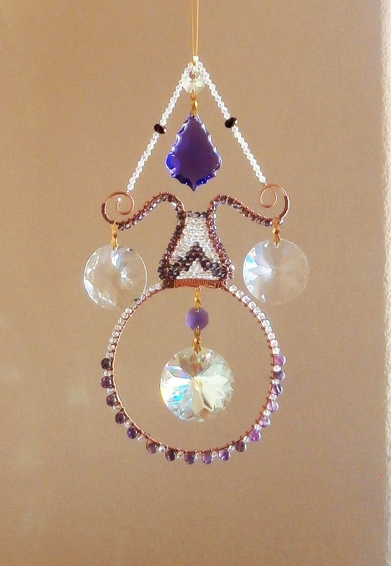 Reserved for Miss Linda Jo... please dont purchase.Amethyst Crystal Suncatcher with large crystals, multi Prims suncatcher,