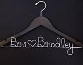 Custom Wedding Hanger - Personalized Name Hanger - Wedding Keepsake - Walnut Dress Hanger - Bridal Shower Gift - Wire Hanger - Wood Hanger