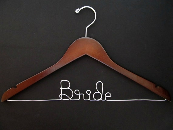 Bridal Hanger - WALNUT - Custom - Personalized Hanger - Wedding Shower Gift - Engagement Gift - Bridal Party - Bridesmaid Gift