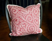 Reversible Raspberry and Cream Pillow Cover - 20 x 20 - Flanged w/ Pleated Corners - Zipper Closure