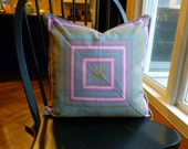 Pink & Green Pillow Cover - 19 x 19 - Self Corded - Invisible Zipper