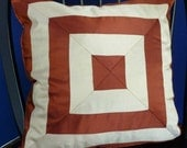 "18"" x 18"" Crimson Rust and Gold Geometric Silk Pillow Cover,Corded and Invisible Zipper"