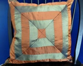 "18"" x 18"" Pumpkin and Sage Green Geometric Silk Pillow Cover,Corded and Invisible Zipper"