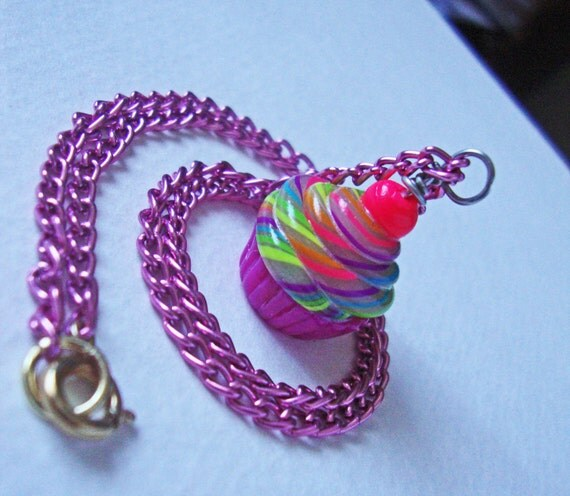 Rainbow Cupcake Necklace with Pink Base