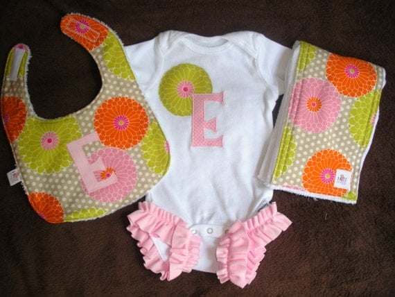 3 Piece- Monogrammed Onesie, Bib, and Burp Cloth- Chrysanthemums