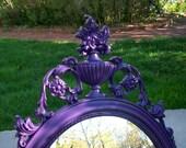 Large Vintage Mirror, Purple Mirror, Ornate Mirror, Upcycled Wall Decor, Home Decor