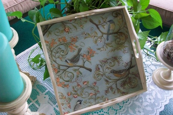 Ivory, Distressed, Vintage wood tray with glass top, Upcycled