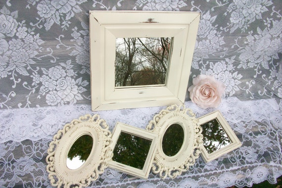 Creamy White Distressed Mirror Set,  Collection of 5 Accent Mirrors, Shabby Chic Decor, Wall Gallery, French Country Decor