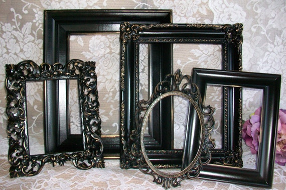 Reserved Shabby Chic Frames Black Picture Frames Set Ornate