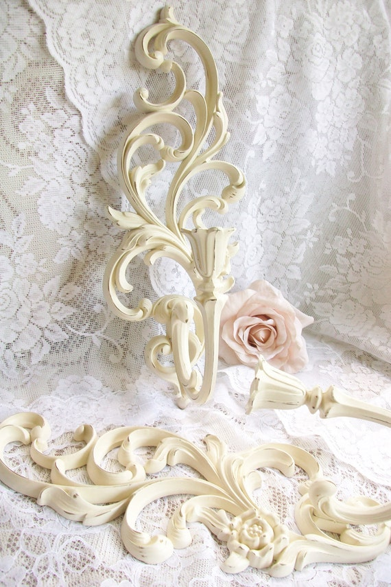 Shabby Chic Decor, Creamy White Sconces, Syroco, Vintage Candle Holders, Wall Sconce Set of 2, Ornate, French, Paris Apartment Decor