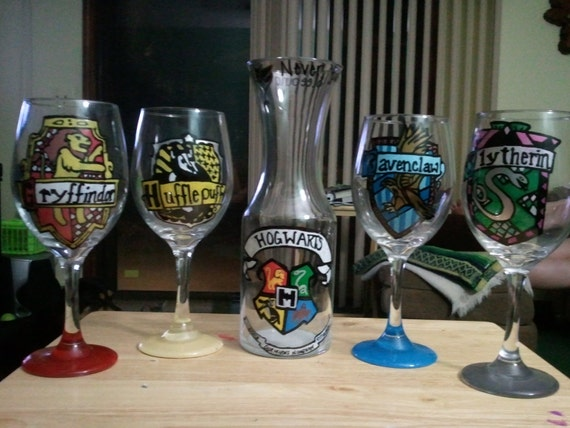 harry potter inspired carafe.  Shown in picture with the wine glasses.