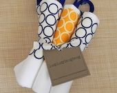 "LAST ONE The ""Mod Prints"" Snap Flour Sack Dish Towel 3 Pack in Navy & Marigold Rings Prints"
