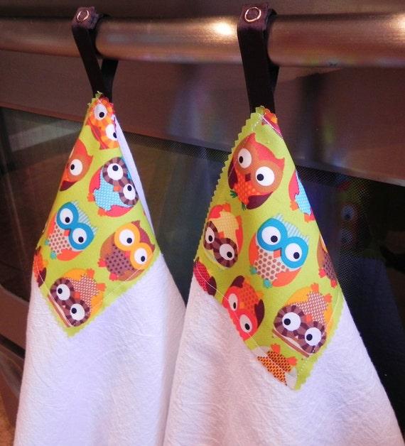"LAST SET The ""Fun Prints"" Snap Flour Sack Dish Towel 2 Pack in Cutie Hootie Bright Owls Print"