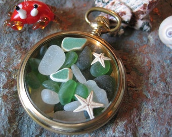 seaglass pocket watch, gold pocket watch pendant necklace