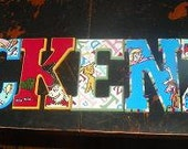 """9.5"""" wooden letters IAN"""