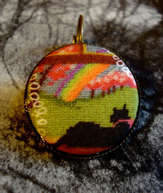 Fabric Button 1 inch Kitty Cross Stitch Earrings