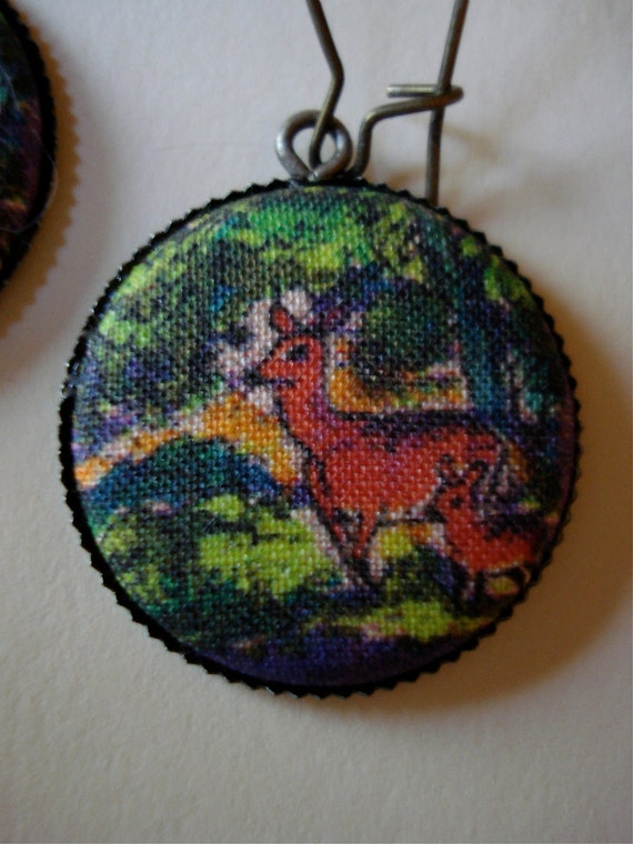 Deer Fabric Cover Button Earrings Spring Woodland Fawn Hook 25mm 1 inch