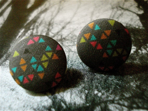 Fabric Button Clip-On Earrings Tribal Triangle Geometric