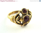 50% OFF EVERYHING SALE Vintage Gold and Amethyst Ring - Size 7