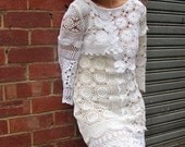 Handmade Crochet late 50's early 60's wiggle dress. Mad men style.