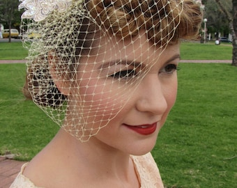 Vintage Inspired Birdcage veil with Beaded Applique