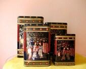 Vintage Asian Styled Set of 4 English Tins
