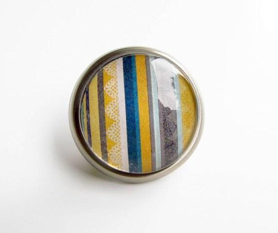 RESERVED for Margaret - Dark Blue Mustard Round Glass Metal Knob
