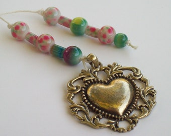 Beaded Heart Bookmark