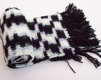 Crochet Neck Scarf in Black, Blue-Gray, and White with Black Fringe