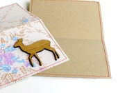 Recycled Paper and Vintage Floral Fabric woodland critters art card with Tallowwood Doe Deer
