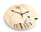 Sleeping Fox Wall Clock original illustration on wood with Navajo inspired tail - Quartz time mechanism