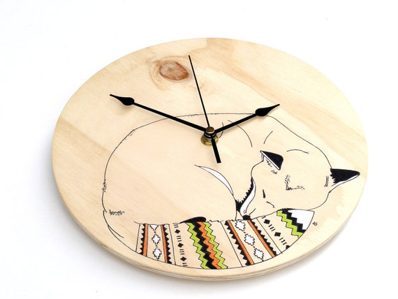 Sleeping Fox Wall Clock original illustration on wood with Navajo inspired tail - Quartz time mechanism