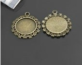 10 pcs 30mm Antique Bronze Vintage Brass Flowers Lace Round Resin Cameo Cabochon Base Settings inner 20mm g23602a3r57