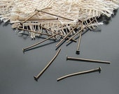 170 pcs 32mm Lots Of Antique Bronze Vintage Brass Finished Flat End Headpins needle g026530